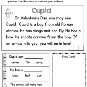 Free Valentine's Day printable activities - reading comprehension and color by coin.