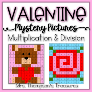 Valentine's Day math mystery picture activities - multiplication and division.