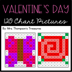 Valentine's Day math activity - 120 chart mystery pictures