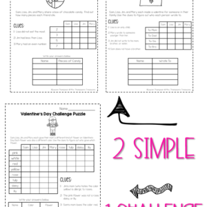 Valentine's Day logic puzzles, critical thinking activities