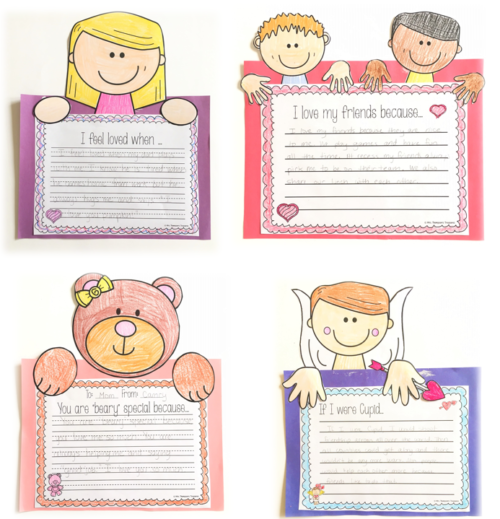 Includes multiple character templates: (different boys and girls, bears, and Cupid) plus multiple prompts for each to choose from. Also included are blank writing templates so you can have students write about anything you choose!