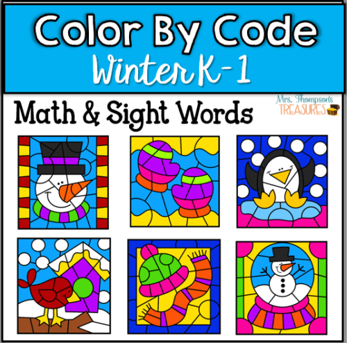 Winter color by code activities to practice simple math and sight words