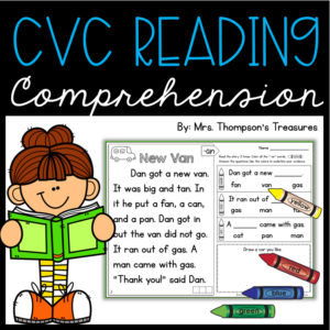 CVC reading comprehension passage and text evidence questions for beginning readers.