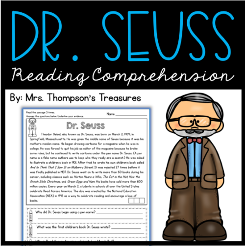 Reading comprehension passage and questions about Dr. Seuss.