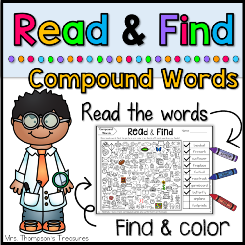 Fun compound word practice - read and find hidden picture puzzles.