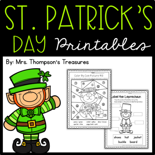 Free St. Patrick's Day printables: color by coin, emergent reader book, and label the leprechaun.