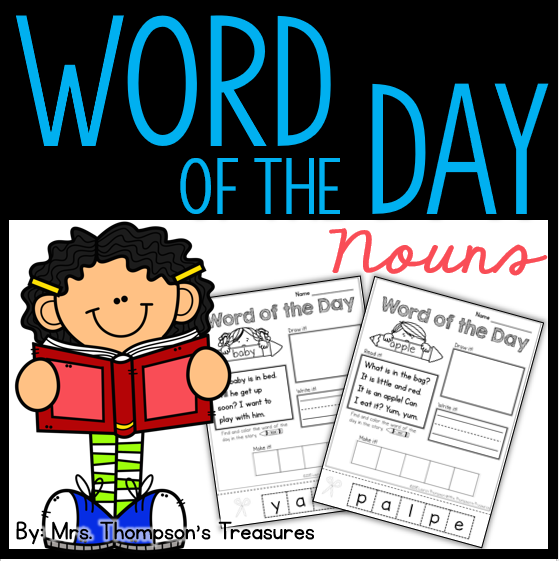 Word of the Day nouns - fun and interactive word work for beginning readers.