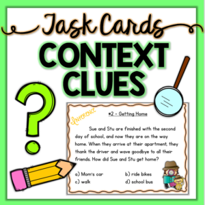 Fun context clue reading task cards