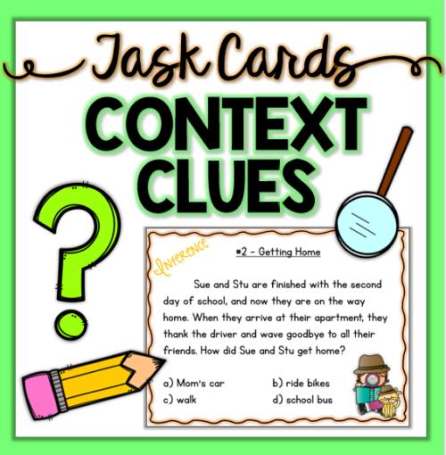 Fun context clue reading task cards