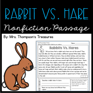 Rabbits and hares comparison reading comprehension passage and questions.