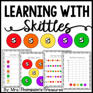 fun math and language arts activities using Skittles candy