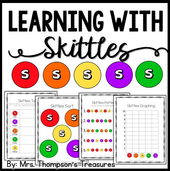 fun math and language arts activities using Skittles candy