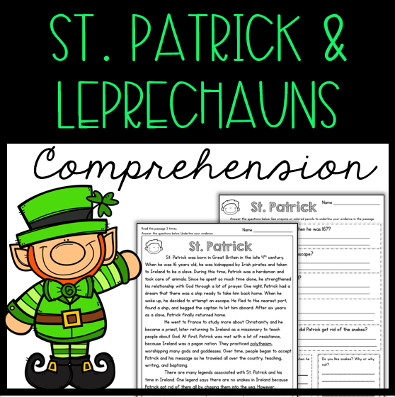 Reading comprehension passages and questions about St. Patrick and leprechauns.