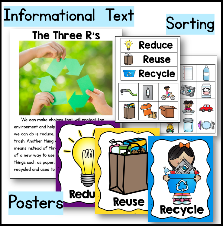 Fun activities for Earth Day to learn about the three r's: reduce, reuse, recycle.