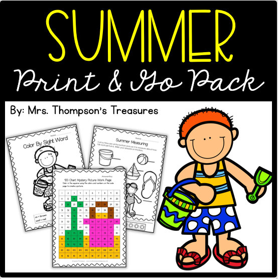 Fun printable activity worksheets for summer. Math and literacy skills.