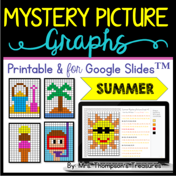 Summer Mystery Picture Graphs Printables + Slides