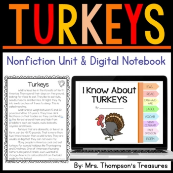 Turkeys Nonfiction Printables & Digital Notebook